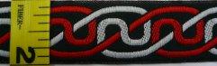 Trim: Simple Knotwork on Black (Red/Grey)